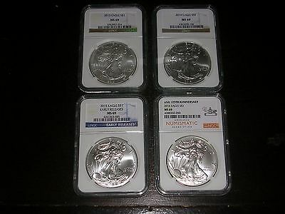 2013, 2014, 2015, 2016 $1 Silver Eagle NGC MS69 Gold Label ~ 4 Coins ~ LOOK