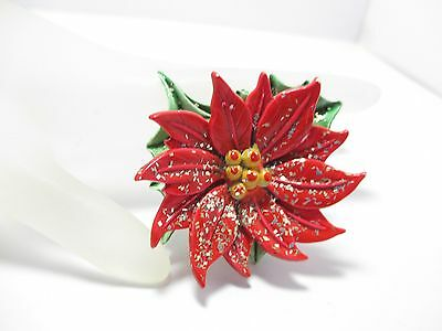Vintage Red Plastic & Glitter Poinsettia Flower Brooch Pin Christmas Holiday