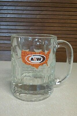 """Vintage A & W Root Beer United States Map Glass Mug 4.25"""" Tall"""