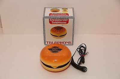 Vintage Cheeseburger Phone Steak N Shake Steakburger Telephone IN BOX Rare