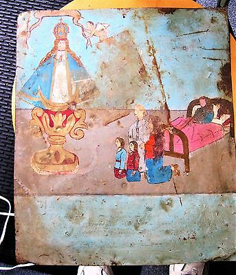 Original Antique Retablo/ Exvoto On Tin Family Thanking Our Lady Of San Juan