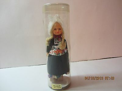 """Vintage Holland """"VOLENDAM"""" Mini Doll In Case-Wooden Shoes & Long Braids-6"""" Tall"""