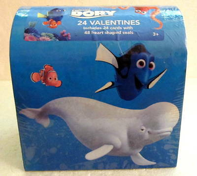Disney Pixar Finding Dory 24 Valentine Cards with 48 Heart Shaped Seals