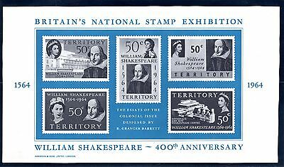 Gt. Britain Nat. Stamp Exhibit. Souv. Sheet 1964 + Shakespeare Stamps Sc. 402-06