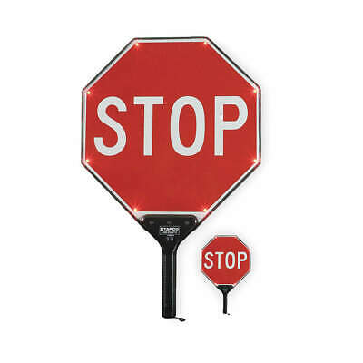 TAPCO LED Paddle Sign,Stop/Stop,White/Red, 2180-00301