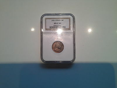 Cyprus 1902 Quarter Piastre (Piaster) Coin Ngc Ms62 Bn
