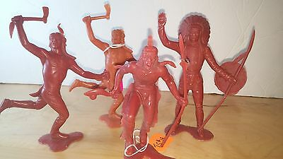 "4 LOUIS MARX & CO 1964 VINTAGE PLASTIC INDIAN COWBOY FIGURINES brown 6"" TALL"