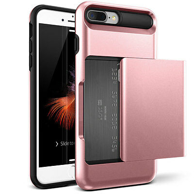 Rose Gold Credit Card Holder Shockproof Phone Cover Case For iPhone 7 Plus
