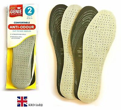 ANTI ODOUR INSOLES Cushions Feet Support Shoe Soft Heel Charcoal Padded Insole