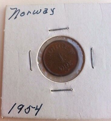 1954 1 Ore coin from Norway