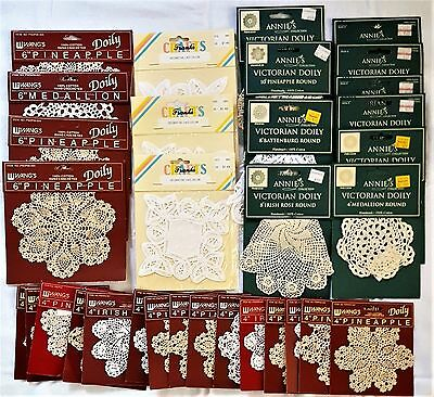 Lot of 32 NIP Doilies & Lace Collars Wang's, Franks Crafts, and Annie's