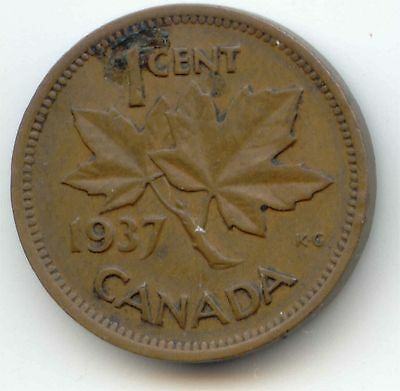 1937 Canadian PENNY one cent Canada 1c ~ Exact Coin Shown ~