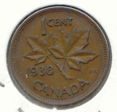 1938 Canadian PENNY one cent Canada 1c ~ Exact Coin Shown ~