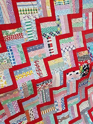 Vintage 1940's Quilt Top FEEDSACK Remnants Fabric QUILT BLOCKS ~ 52x94 Project
