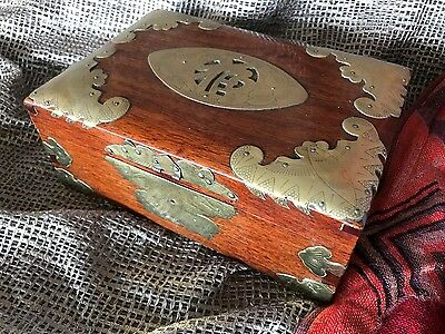 Old Chinese Wooden Gentleman's Box with Lots of Brass Trim …beautiful display pi
