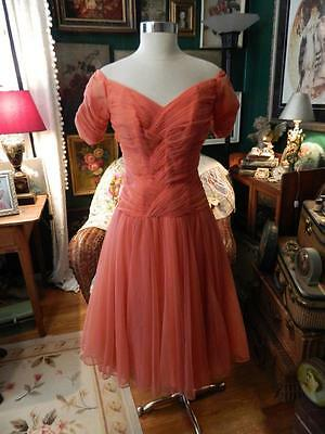 VINTAGE 50's SALMON PARTY DRESS, PROM, WEDDING, SHEER CHIFFON OVER TULLE. M