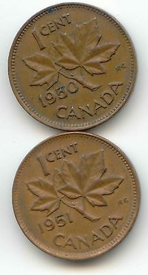 1950 1951 Canadian PENNY Pennies one cent Canada 1c  Exact Set ~