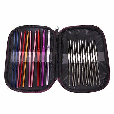 22Pcs Aluminum Crochet Hooks Knitting Needles Set