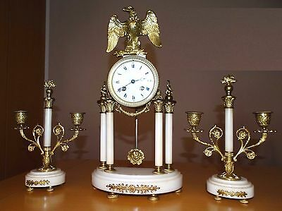 Beautiful French Marble Portico Gilded Clock Set Eagel A.d.mougin 1890