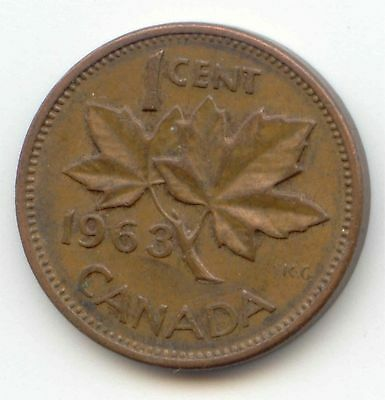 1963 Canadian PENNY one cent Canada 1c ~ Exact Coin Shown ~