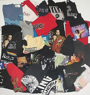 Lot of 28 - Band Shirts All Sizes, Condition, and Genres