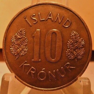 Circulated 1967 10 Kroner Iceland Coin (62117)1.....free Shipping