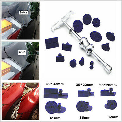 Auto Body Dent Paintless Repair PDR Tools Kit Puller Slide Hammer 12PCS Tab Glue