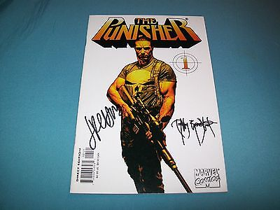 Punisher 1 Rare 2Nd Print White Variant Signed 2X Bradstreet Palmiotti Netflix!