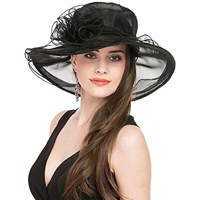 Saferin Sun Hats Women Kentucky Derby Church Dress Organza Hat Wide Brim Flat