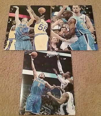 3 NBA PELICANS HORNETS AUTOGRAPHED SIGNED 8x10 BASKETBALL PHOTO LOT COA JSA PSA