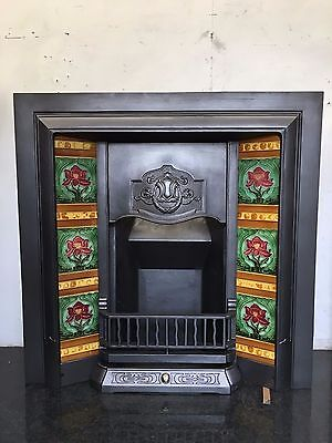Original Restored Antique Cast Iron Art Nouveau Tiled Insert Fireplace (TA328)