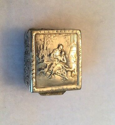 Vintage Silver Pill Or Snuff Box Showing Couple With Dog Marked Italy