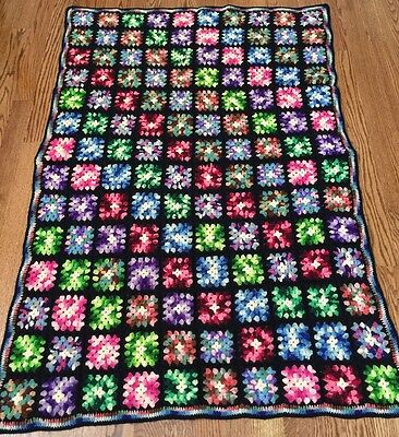 "Vintage Granny Square Afghan Throw Crochet Acrylic Black & Variegated 48"" X 67"""