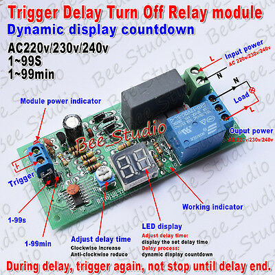 AC 220V 230V Trigger Timer Delay Turn Off Switch Board Time Relay Module W/LED