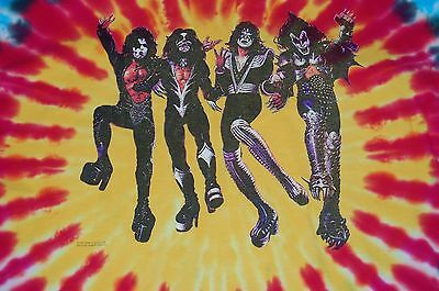 KISS Tie Dye Destroyer Official 1997 T-Shirt XL Gene Simmons Ace Frehley