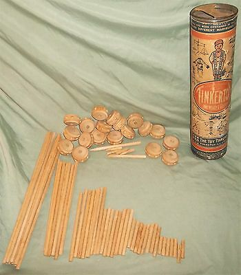 Antique/Vintage Tube TINKERTOY Tinkertoys w/ Wooden Spools & Rods PAT. 1913 ?AND
