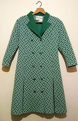Vintage 70'S Green & White Geo Pattern COAT DRESS Double Breasted S - M AMAZING!