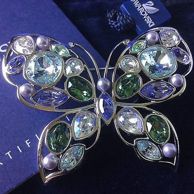 Authentic Swan Signed Swarovski Nynon Butterfly Pin Brooch 1080534 New