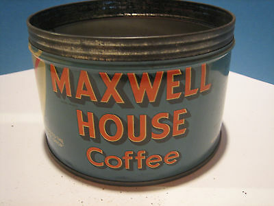 Vintage MAXWELL HOUSE 1 Pound Coffee Can! Key Opened! One Pound!