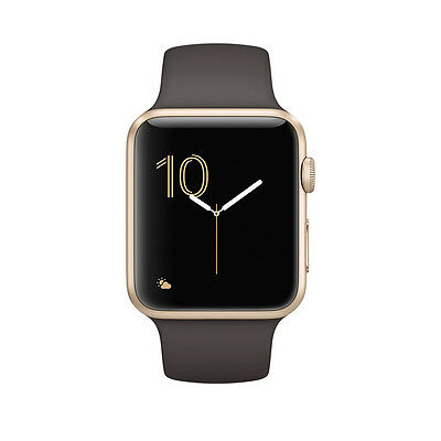 """""""NEW"""" Apple Watch Series 2 42mm (Gold Aluminum Case, Cocoa Sport Band)"""