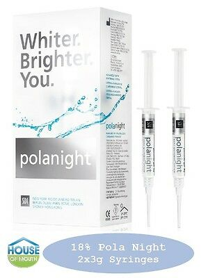 Teeth Whitening/Bleaching Syringes 18% Polanight - 2x3gram Syringes FREE Bonuses