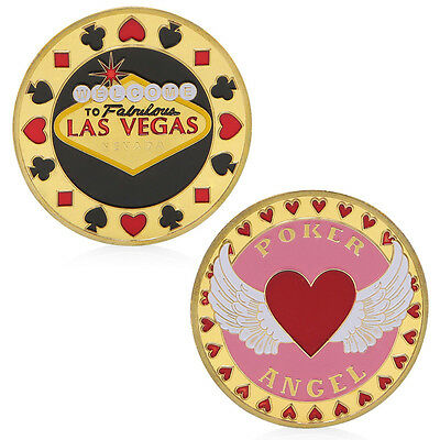 Poker Heart Angel Lucky Chip Commemorative Challenge Coin Collection Gift Golden