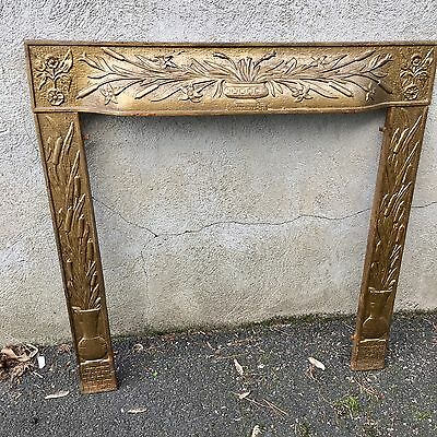 Antique Victorian Cast Iron Reclaimed Fireplace Surround Lily Floral Motif.