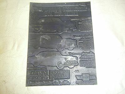Vintage printing plate 1953 ad Chevrolet cars new models plastic plate