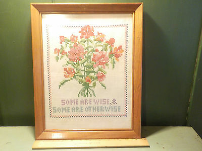 Antique Vintage Wisdom Motto Cross Stitch Sampler 11 x 14 Framed