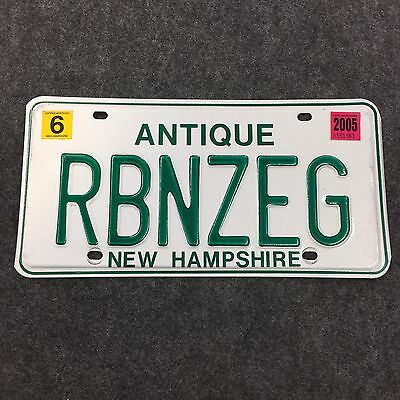 2005 NEW HAMPSHIRE ANTIQUE VANITY License Plate Tag 05 NH RBNZEG Robin's Egg