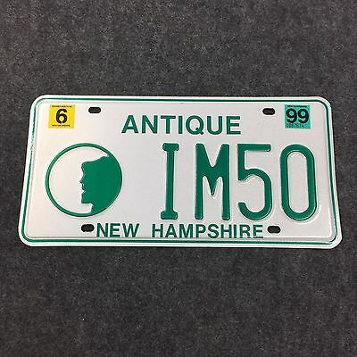 1999 NEW HAMPSHIRE ANTIQUE VANITY License Plate Tag 99 NH IM50 I'm 50 Fifty!