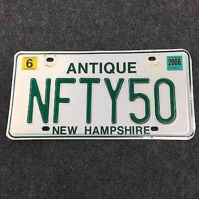 2006 NEW HAMPSHIRE ANTIQUE VANITY License Plate Tag 06 NH NFTY50 Nifty Fifty 50!