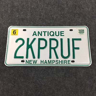 2000 NEW HAMPSHIRE ANTIQUE VANITY License Plate Tag 00 NH 2KPRUF Y2K Proof