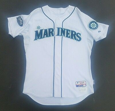 2011 game used Mike Brumley Seattle Mariners home Jersey